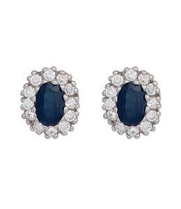 Aurora Patina Zilveren oorstekers blauwe saffier en zirkonia