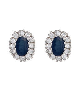 JOBO Silver ear studs blue sapphire and zirconia
