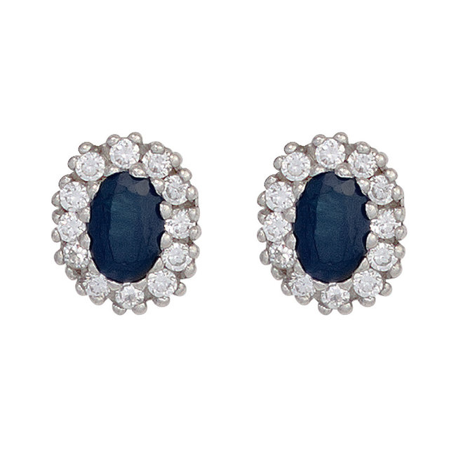 Silver ear studs (925) with blue sapphire and 12 zirconias