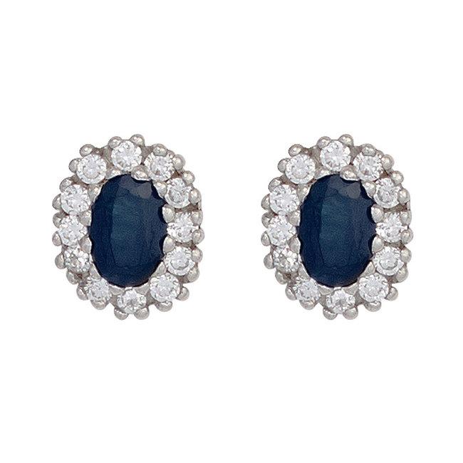 Zilveren oorstekers (925) met blauwe saffier en zirkonia's