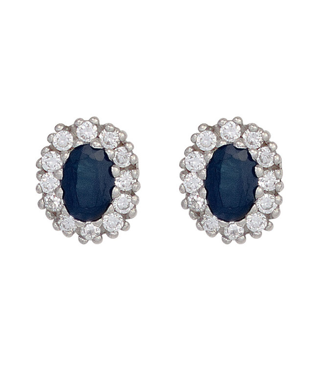 JOBO Silver ear studs (925) with blue sapphire and 12 zirconias
