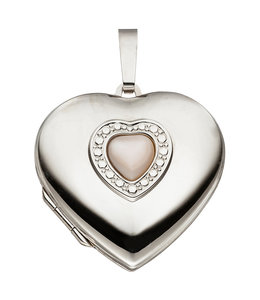 JOBO Sterling silver locket Heart mother of pearl inlay