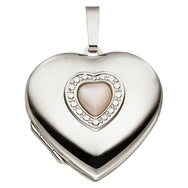 Sterling silver locket Heart with mother of pearl inlay for 2 photos