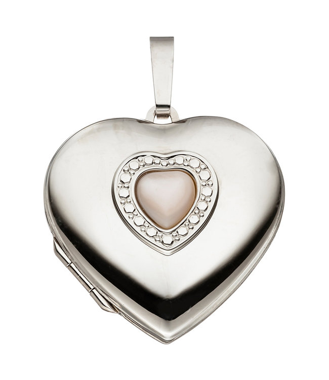 Aurora Patina Sterling silver locket Heart with mother of pearl inlay for 2 photos