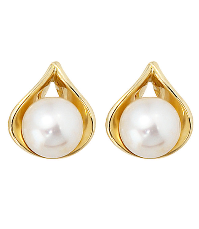 JOBO Gold ear studs 14 carat (585) with freshwater pearls