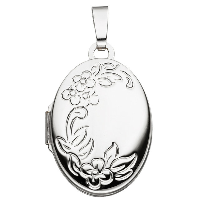 White gold locket (585) oval with flowers for 2 photos