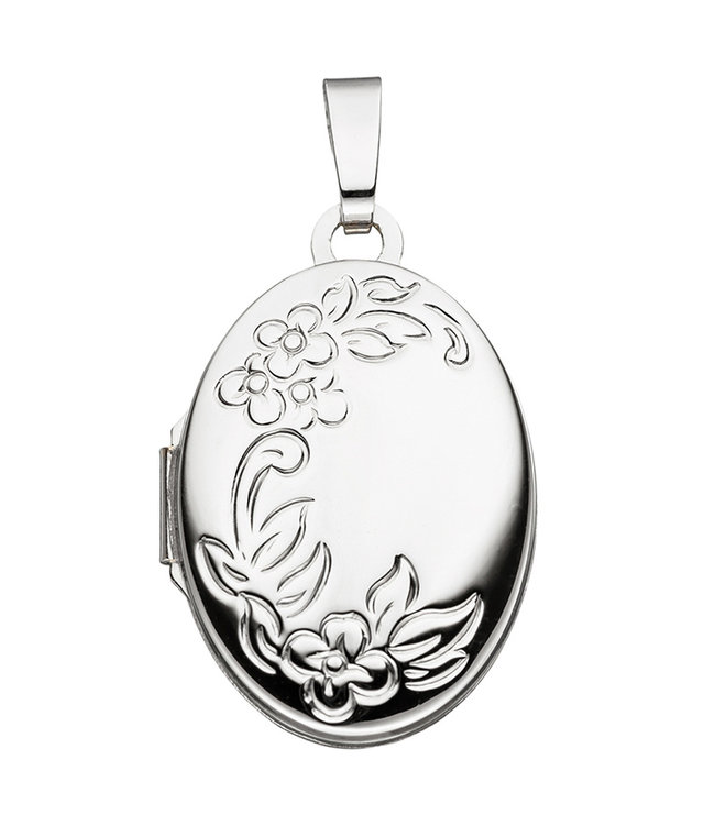 JOBO White gold locket (585) oval with flowers for 2 photos