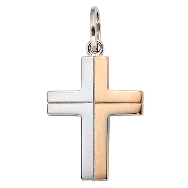 Gouden hanger 14 karaat (585) Kruis in twee kleuren