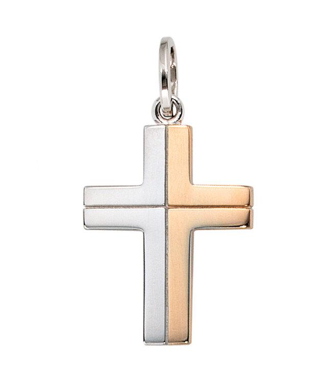 JOBO Gouden hanger 14 karaat (585) Kruis in twee kleuren