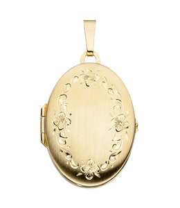 Aurora Patina Gold locket oval with garland of flowers