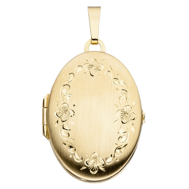 Gold locket (333) oval with garland of flowers for 2 photos