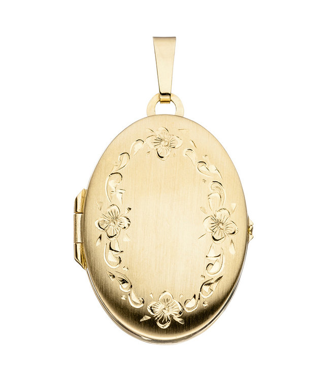 JOBO Gold locket (333) oval with garland of flowers for 2 photos