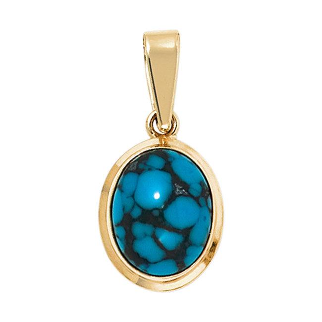 Gouden hanger 14 karaat (585)  Turquoise