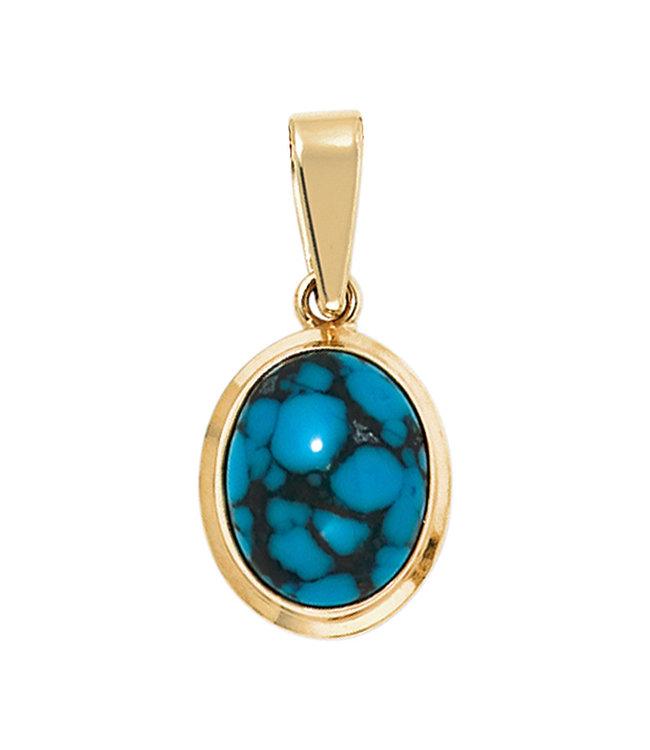 JOBO Gouden hanger 14 karaat (585)  Turquoise