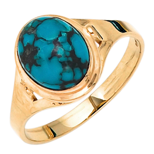 Gold ring 14 carat (585) with turquoise