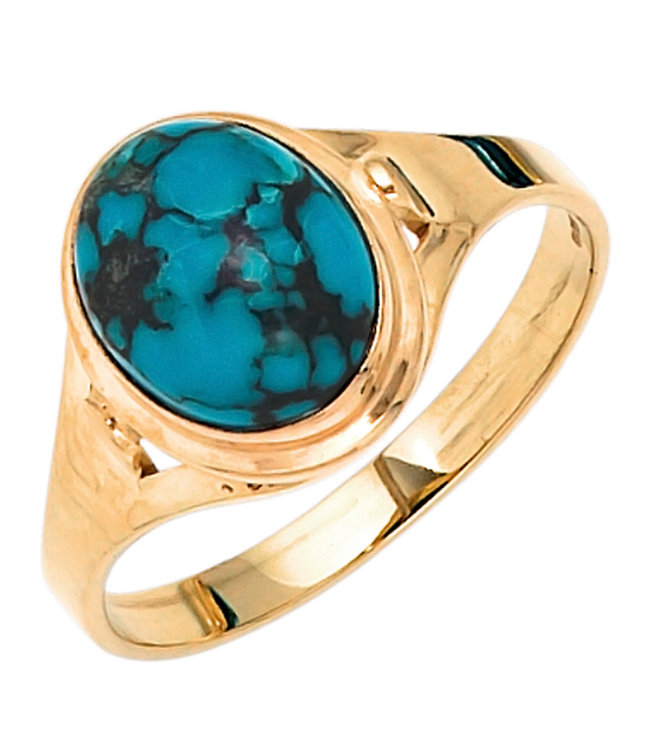 Aurora Patina Gold ring 14 carat (585) with turquoise