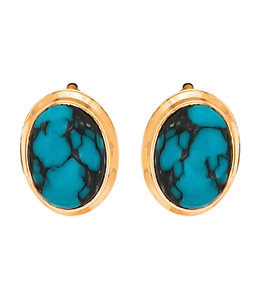 Aurora Patina Gold stud earrings with 2 turquoises