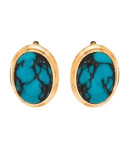 JOBO Gold stud earrings with 2 turquoises
