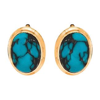Aurora Patina Gouden oorknopjes met 2 turquoises
