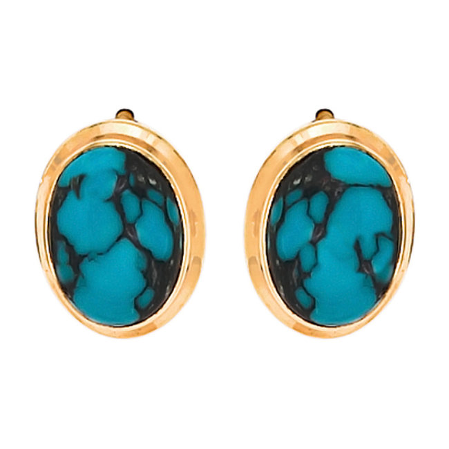 Gold earstuds 14 carat (585) with 2 turquoises
