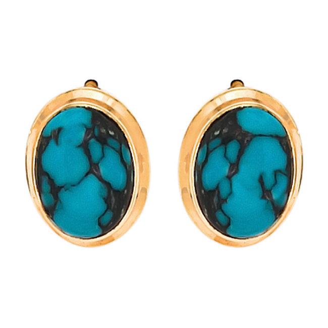 Gouden oorknopjes 14 karaat (585) met 2 turquoises