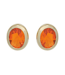 Aurora Patina Gold stud earrings with 2 fire opals