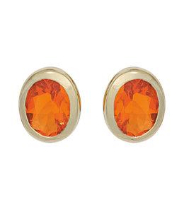 JOBO Gouden oorknopjes met 2 vuur opalen