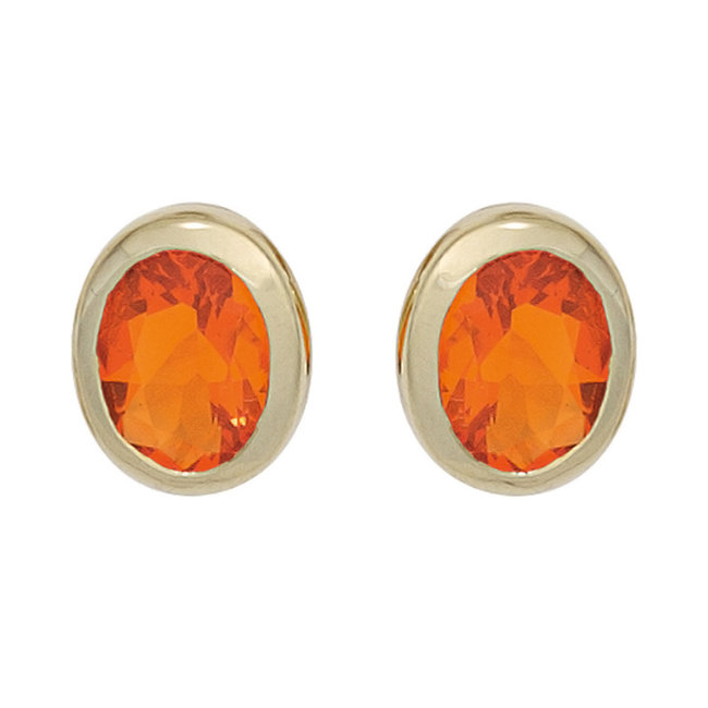 Gold earstuds 14 carat (585) with 2 fire opals