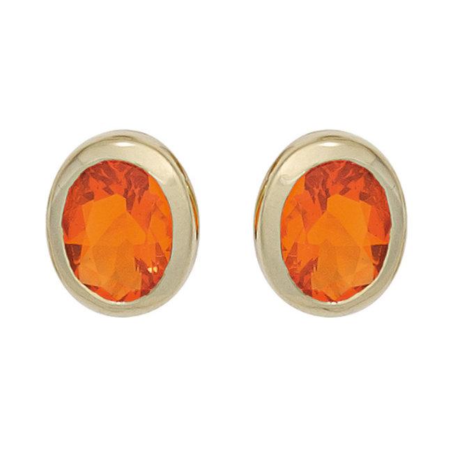 Gouden oorknopjes 14 karaat (585) met 2 vuur opalen