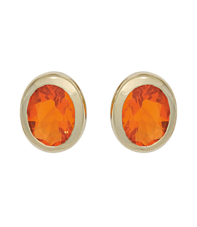 Aurora Patina Gold earstuds 14 carat (585) with 2 fire opals
