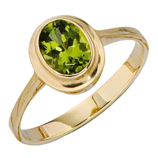 Gold ring 14 carat (585) with green Peridot
