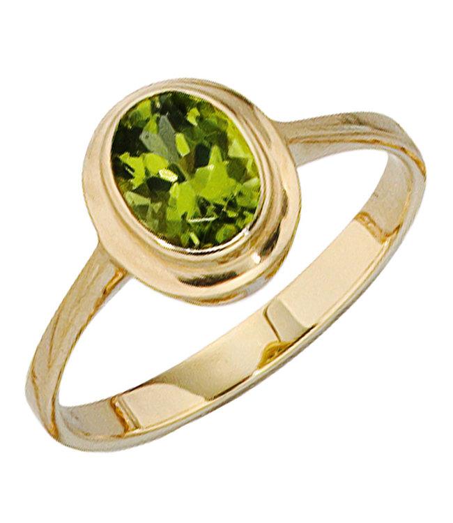 JOBO Gouden ring 14 karaat (585) met groene Peridot