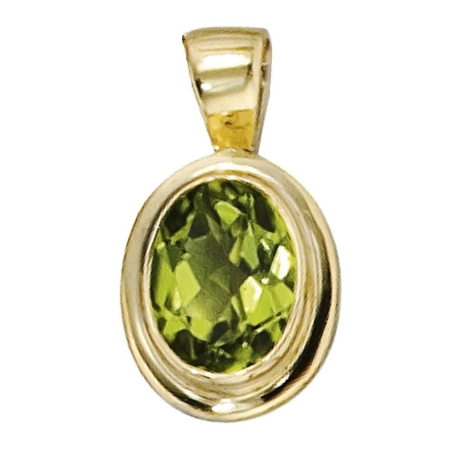 Gold pendant 14 carat (585) with a stunning Peridot