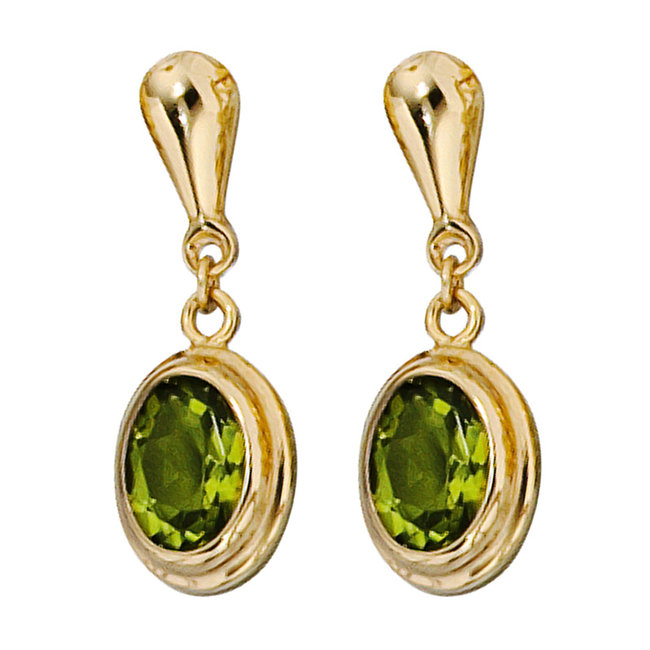 Gold earrings 14 carat (585) with 2 peridots