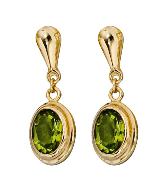 JOBO Gouden oorbellen 14 karaat (585) met 2 peridot edelstenen