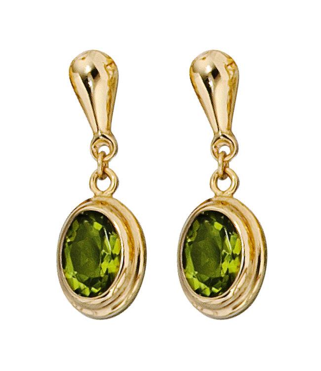JOBO Gold earrings 14 carat (585) with 2 peridots