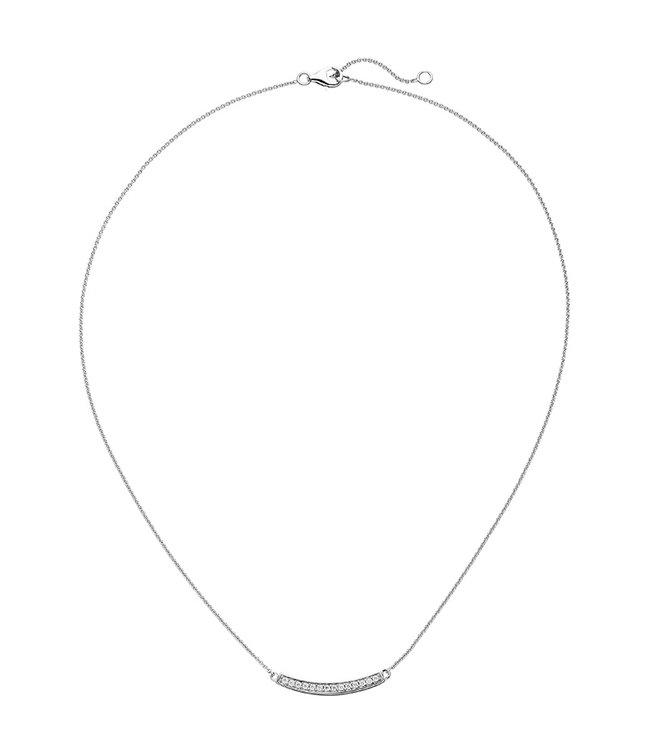 JOBO Zilveren halsketting met zirkonia bar 45 cm