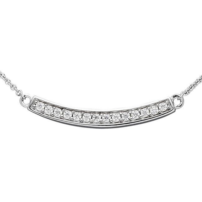 Zilveren halsketting met zirkonia bar 45 cm