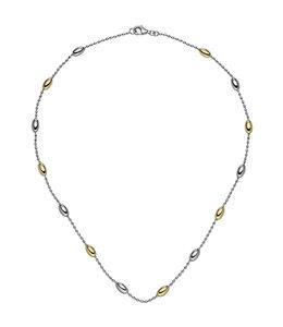Aurora Patina Zilveren halsketting deels verguld 45 cm