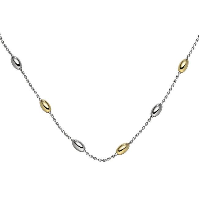 Zilveren halsketting deels verguld 45 cm