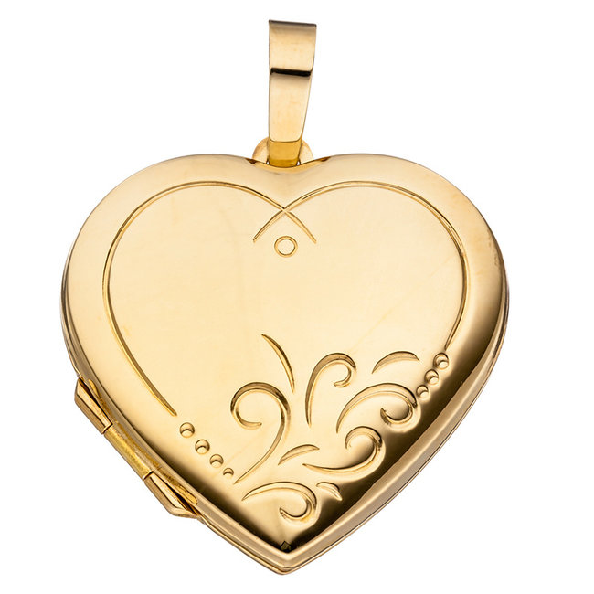 Sterling silver locket Heart gold plated for 2 photos