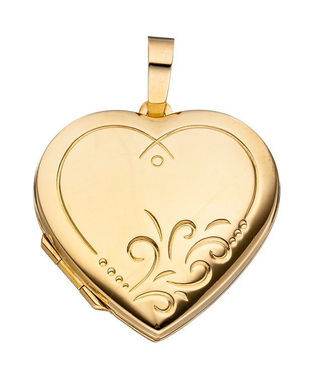 Aurora Patina Sterling silver locket Heart gold plated for 2 photos