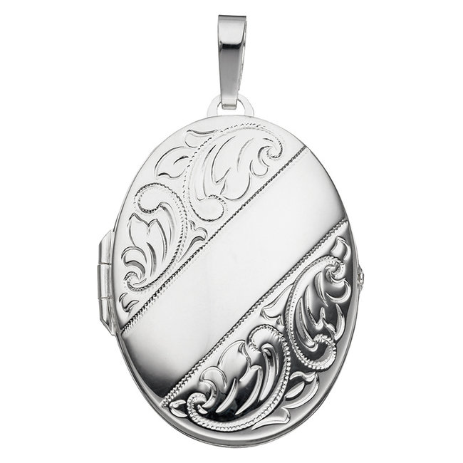 Sterling silver locket with  vintage decorations for 2 photos