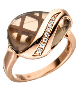 Aurora Patina Gold plated silver ring smoky quartz and zirconia