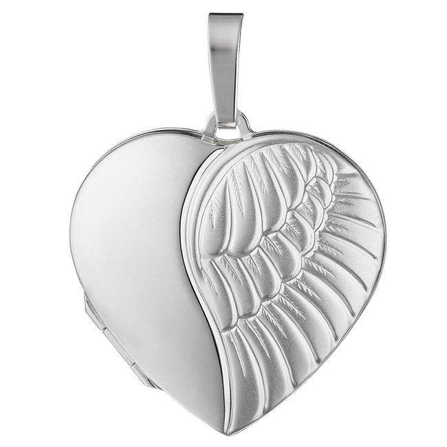 Sterling silver locket Angel matted for 2 photos