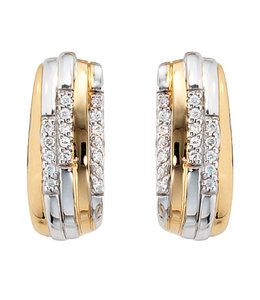 JOBO Silver earrings with zirconia part gold plated