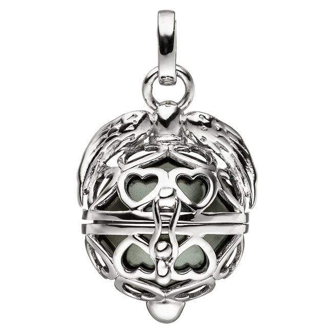 Zilveren kettinghanger Beschermengel met synthetische donkere  parel