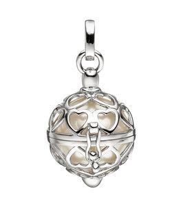 JOBO Zilveren kettinghanger Beschermengel met witte parel