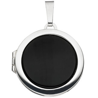 Aurora Patina Sterling silver locket Onyx