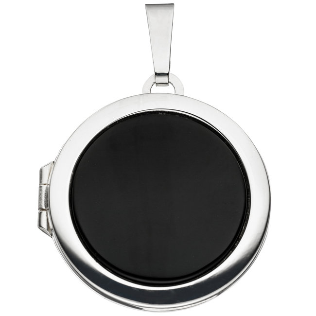 Sterling silver locket (925) Onyx for 2 photos